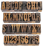 French Clarendon wood type alphabet