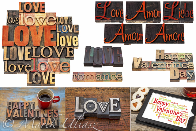 Love, romance and Happy Valentine's Day in royalty free images